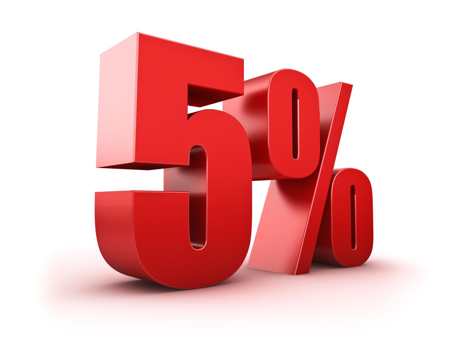 3D Rendering eines fünf Prozent Symbols
